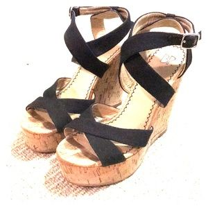 Black fabric strap cork wedge platform sandal sz 6